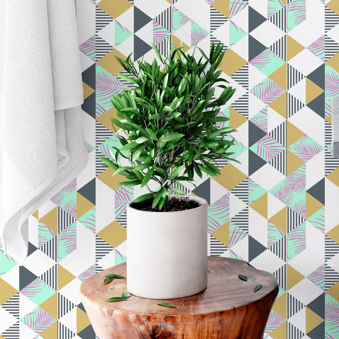 Papel De Parede Geométrico Triângulos Florais