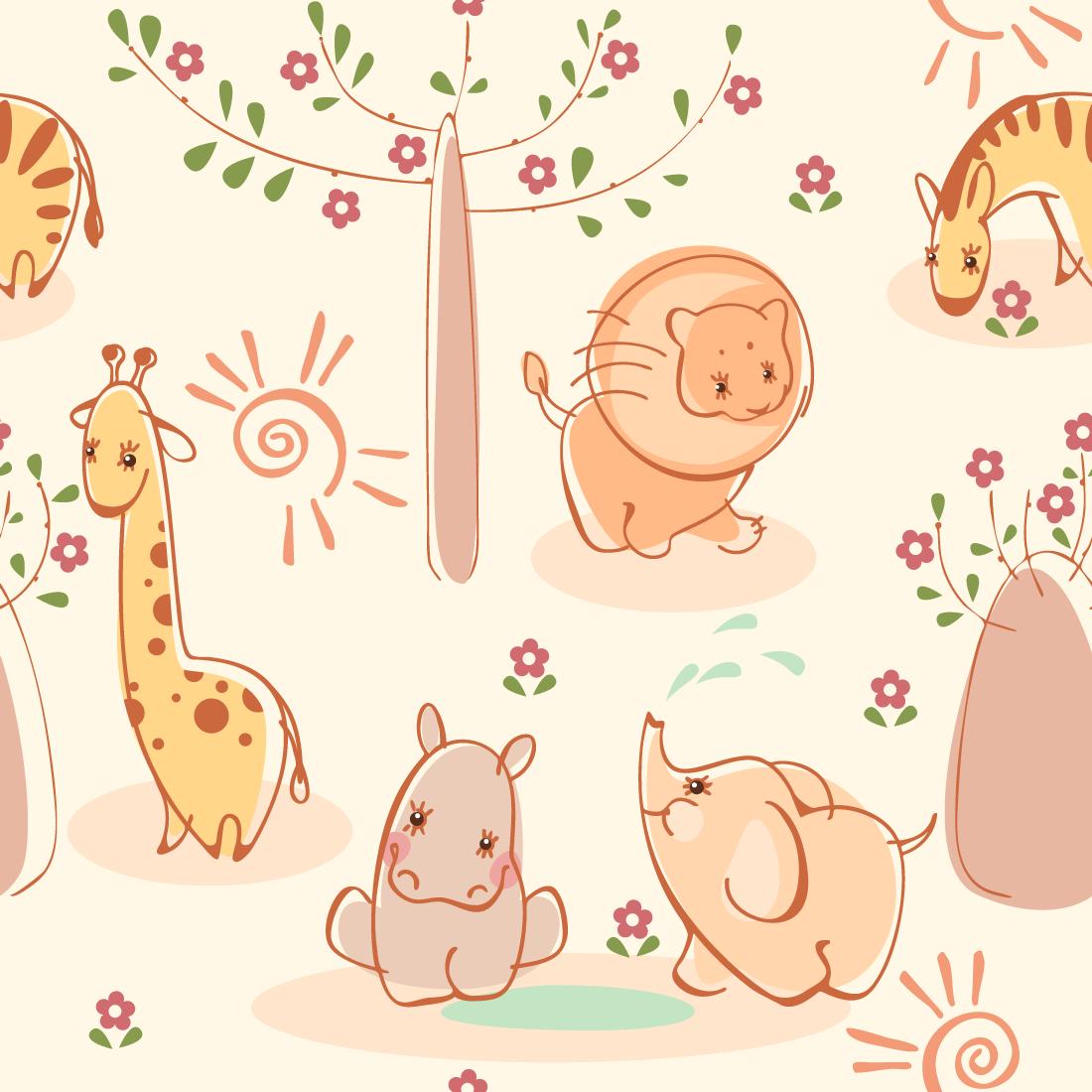 Papel de Parede Infantil Animais Safári
