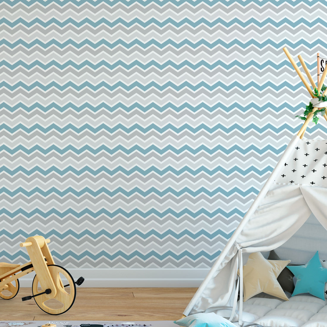 Papel de Parede Infantil Chevron Azul e Cinza