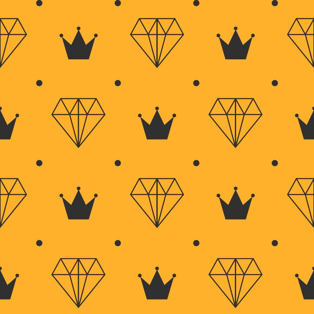 Papel de Parede Coroa e Diamante (Amarelo e Chumbo)