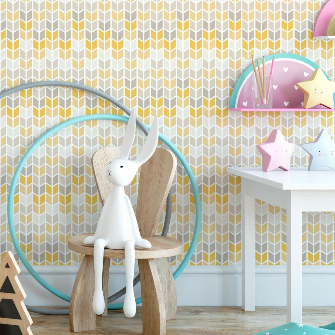 Papel de Parede Infantil setas Amarelo e Cinza