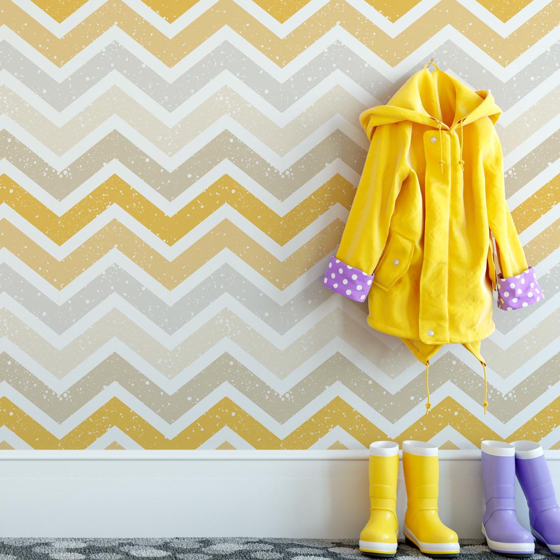 Papel de Parede Infantil Chevron Manchado Amarelo