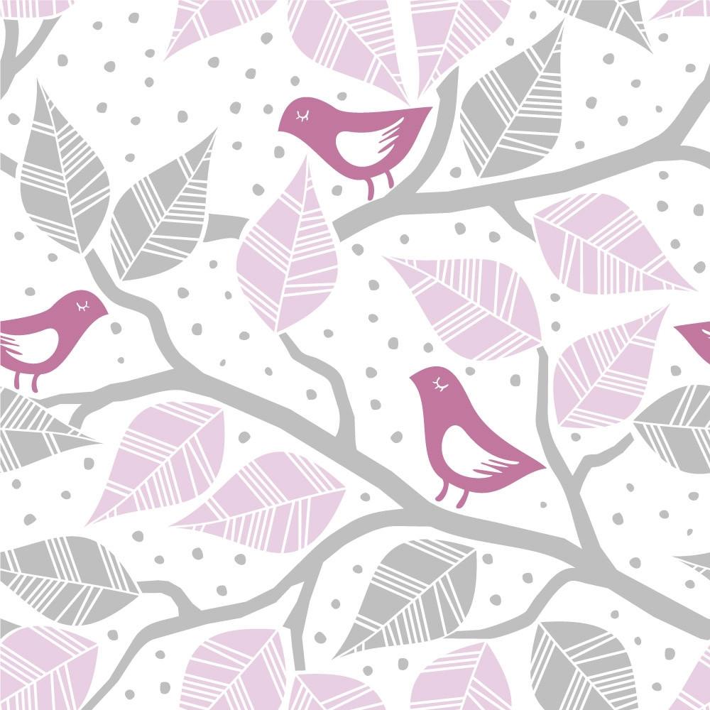 Papel de Parede Galhos Folhas e Pássaros (Rosa)