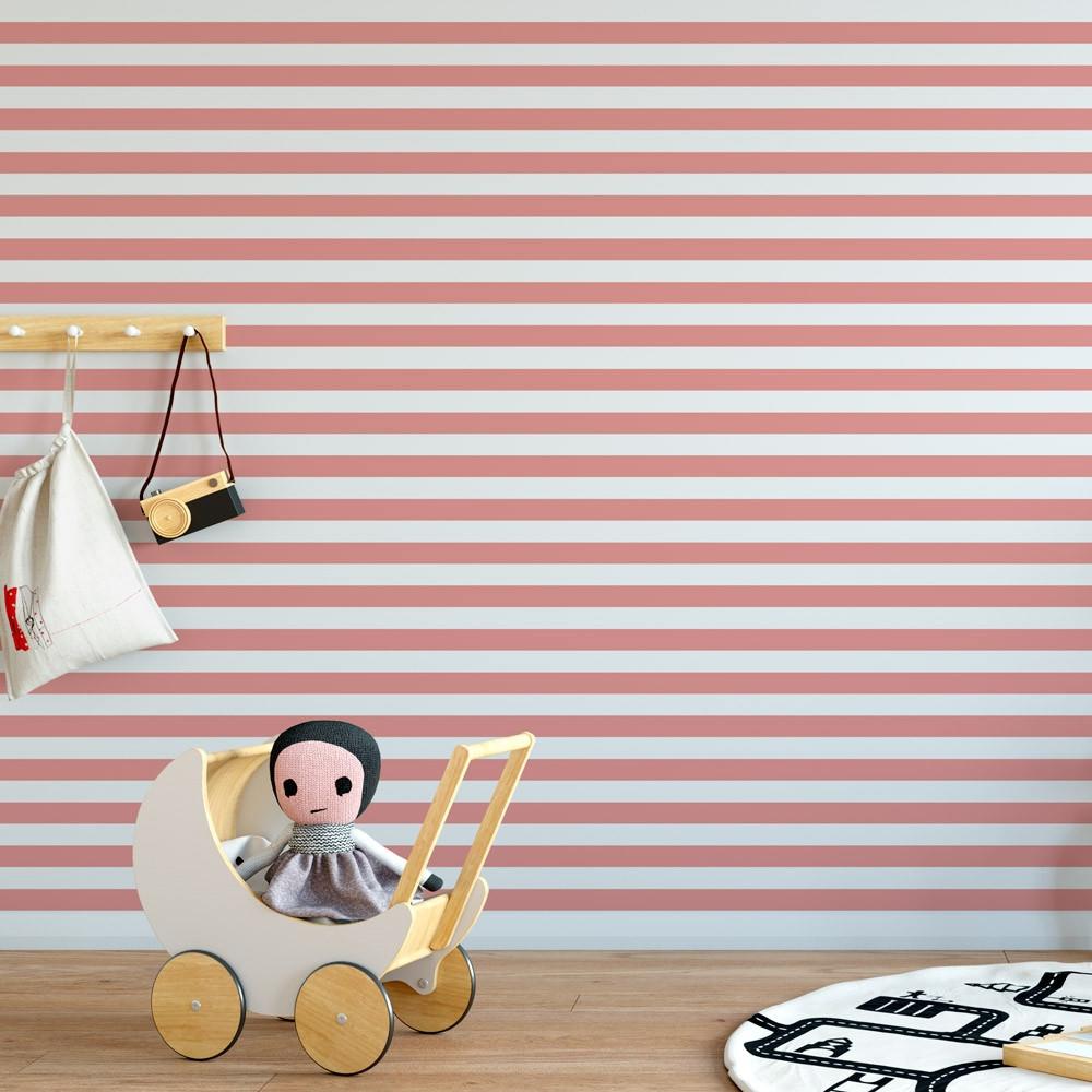 Papel de Parede Infantil Listras (Rosa)