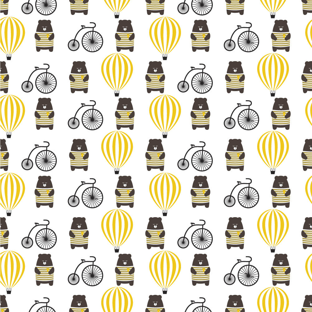 Papel de Parede Infantil Ursinho Bicicleta Balão