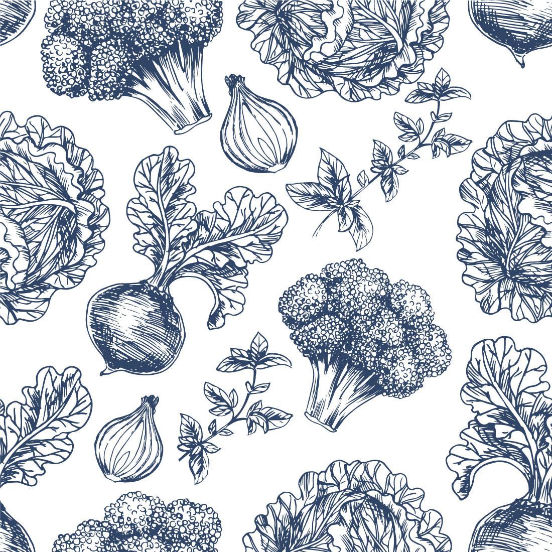 Papel de Parede Legumes Azul