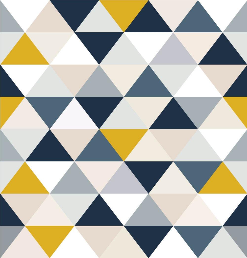 Papel de Parede Triângulos (Amarelo e Azul)