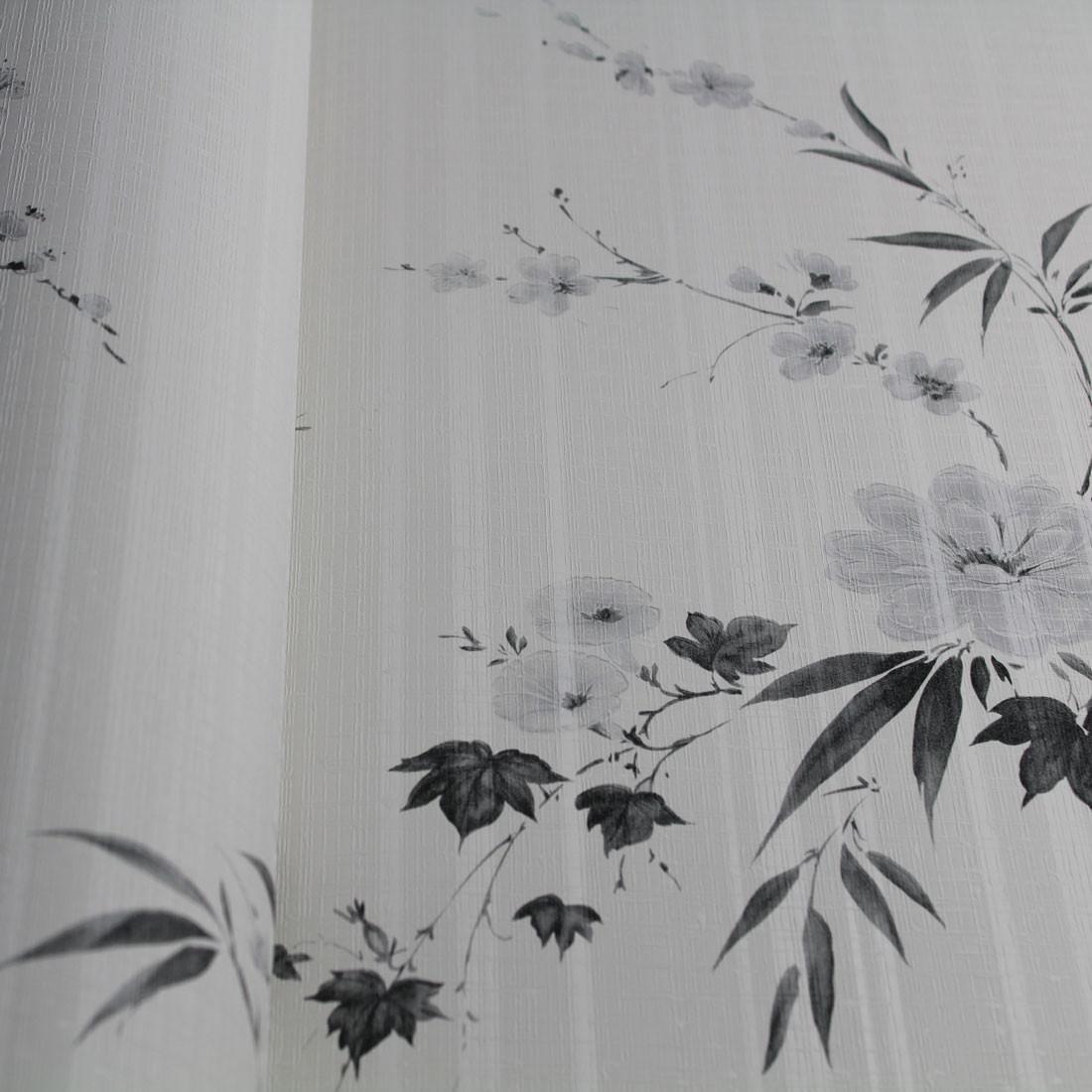 Papel de Parede Nuresco Allegra Floral Delicado Preto Cinza e Branco