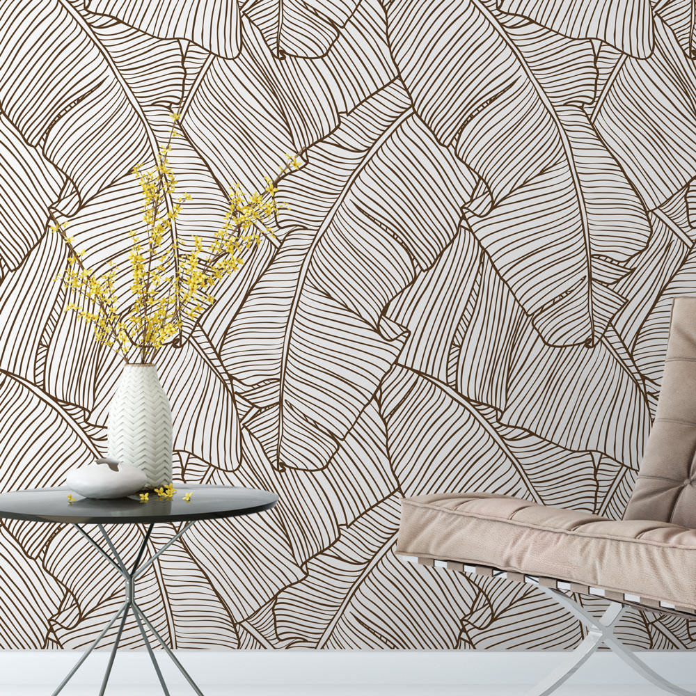 Papel De Parede Folhas De Palmeira Marrom Modelo Exclusivo  -> Papel De Parede Para Sala Folhas