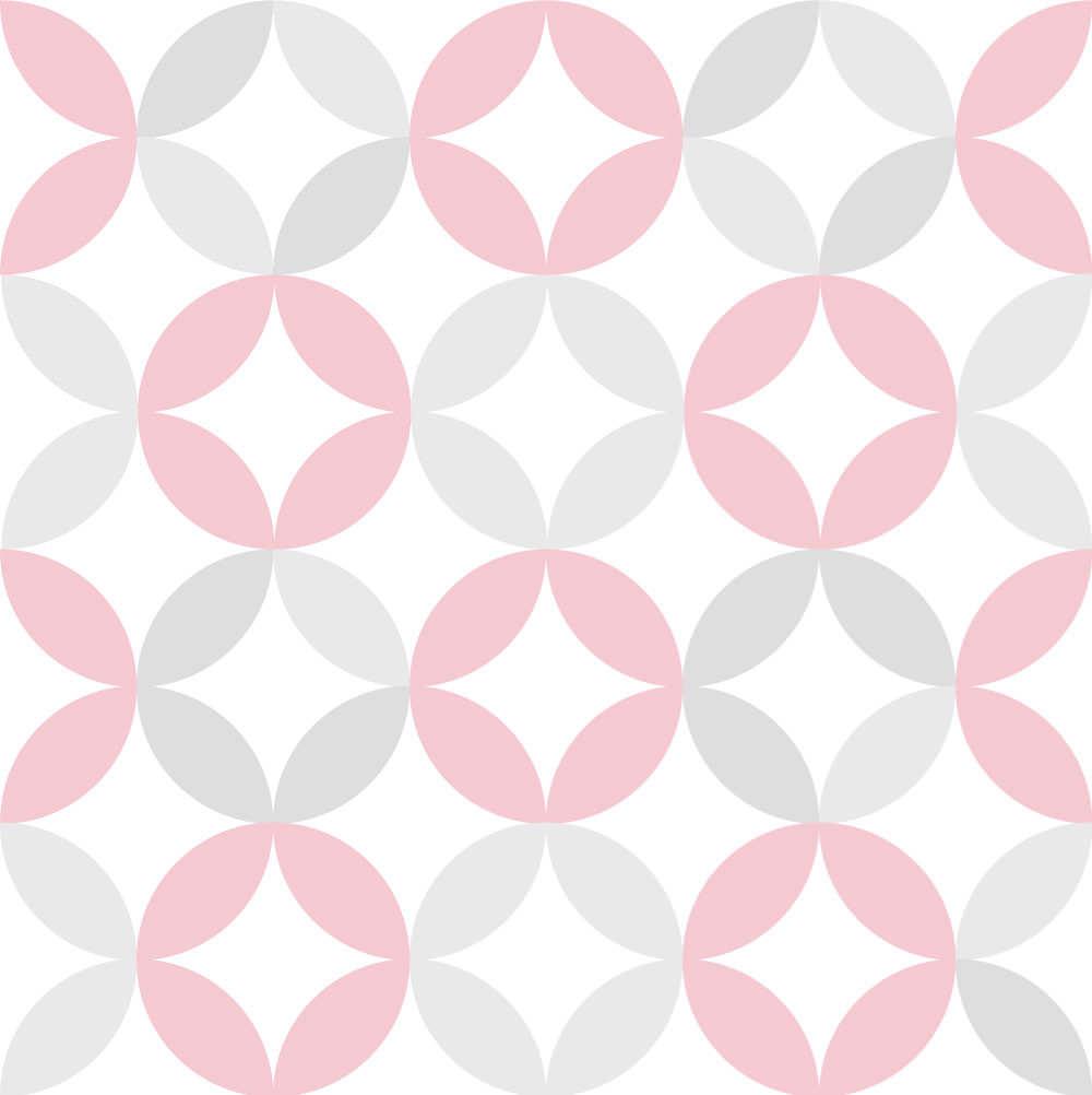 Papel de Parede Infantil Círculos (Tons de Rosa e Cinza)