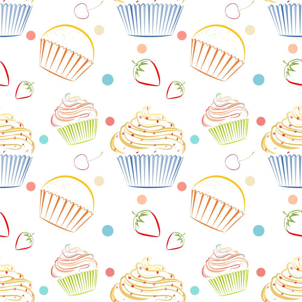 Papel de Parede Cupcakes Cereja Morango