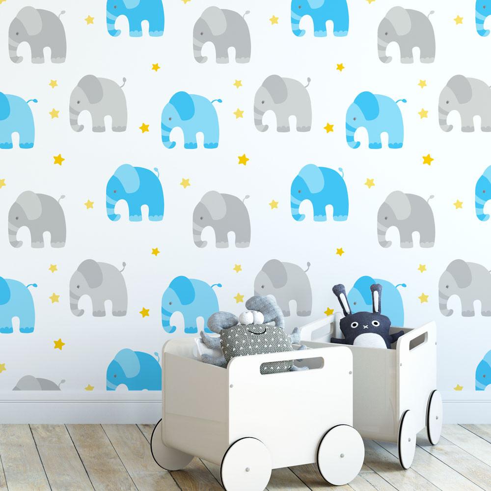 Papel de Parede Infantil Elefantes (Azul e Cinza)