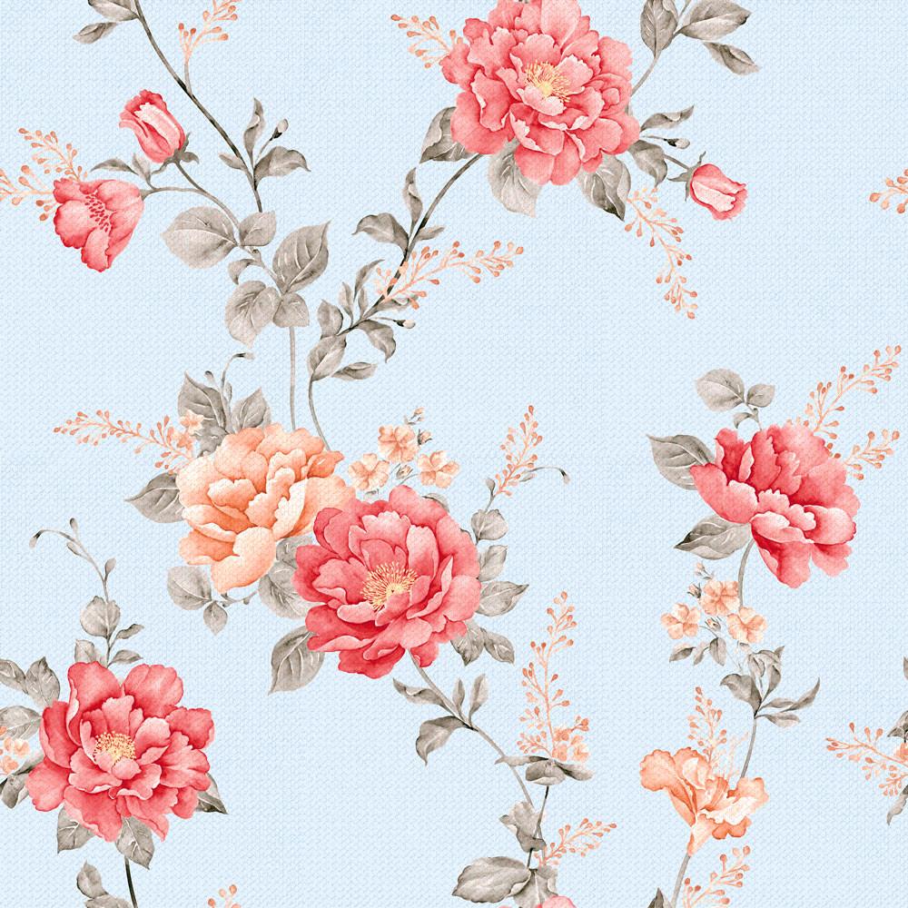 Papel de Parede Estampa Floral Retrô