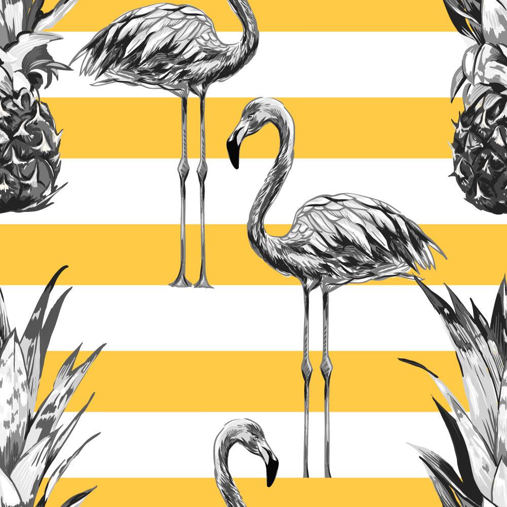 Papel de Parede Abacaxi e Flamingos