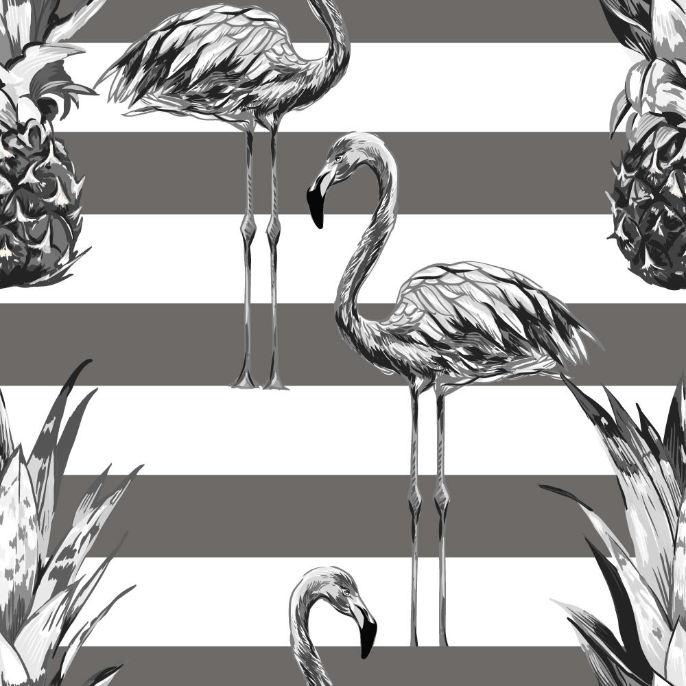 Papel de Parede Flamingos e Abacaxi (Cinza)