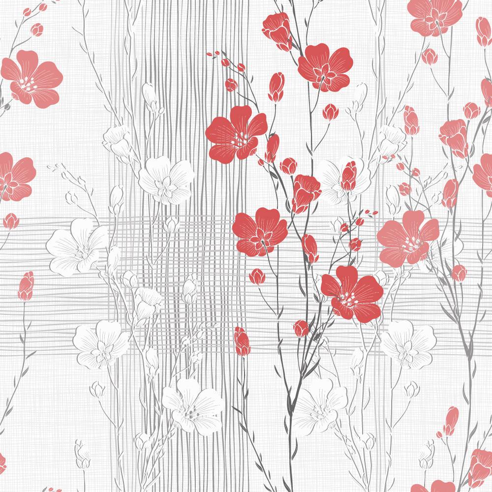 Papel de Parede Floral Abstrato (Flor Vermelha)