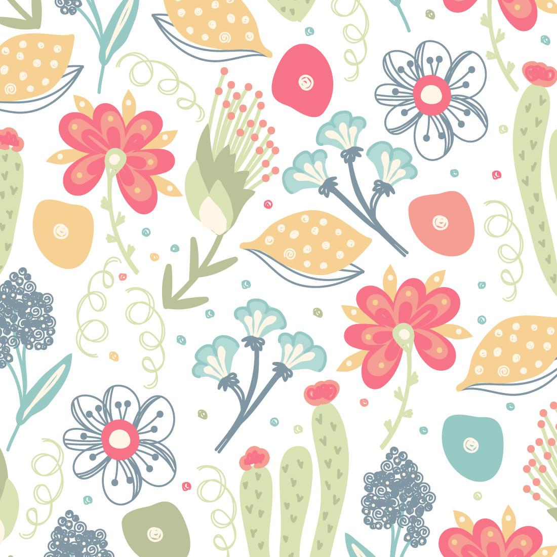 Papel De Parede Floral e Cacto