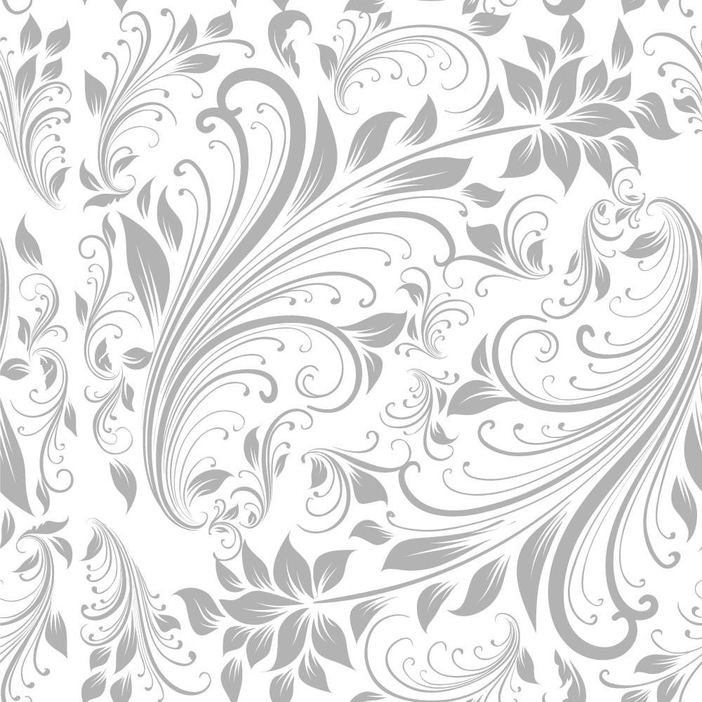 Papel de Parede Floral (Cinza)