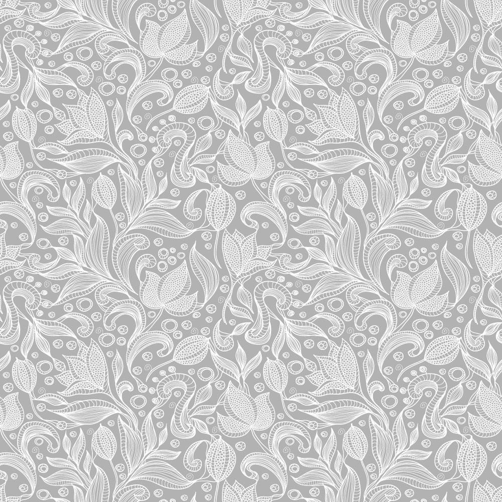 Papel de Parede Floral Arabesco Vintage Fundo Cinza