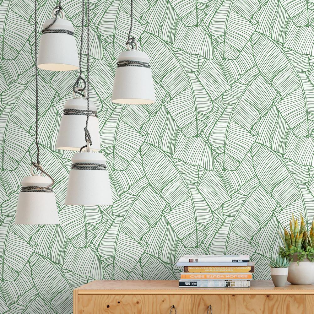 papel de parede folhas de palmeira modelo exclusivo bemcolar