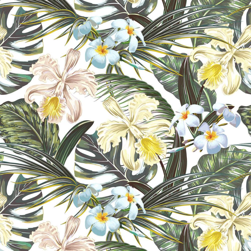 Papel de Parede Folhas e Flores Tropicais