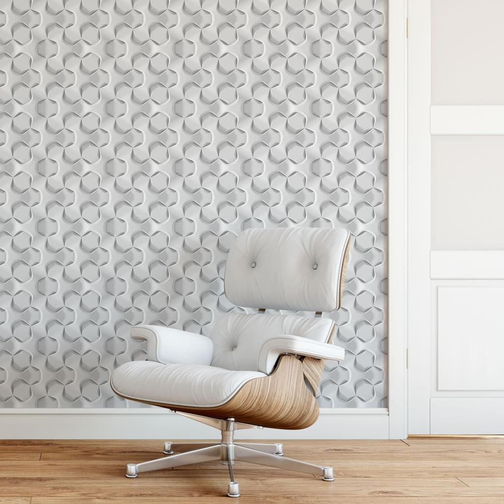 Papel de Parede Hexagonal 3D