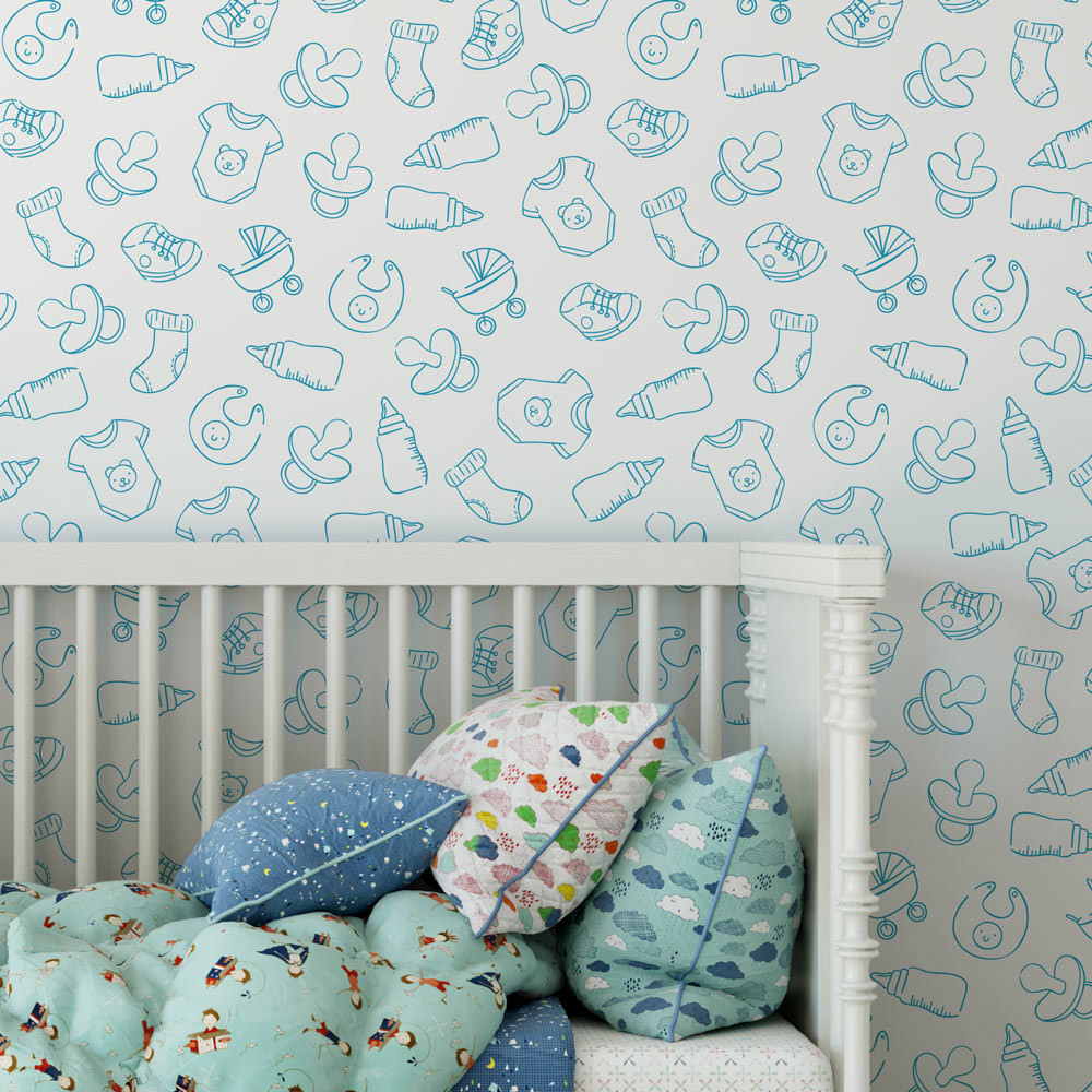 Papel de Parede Infantil Baby Azul Menino
