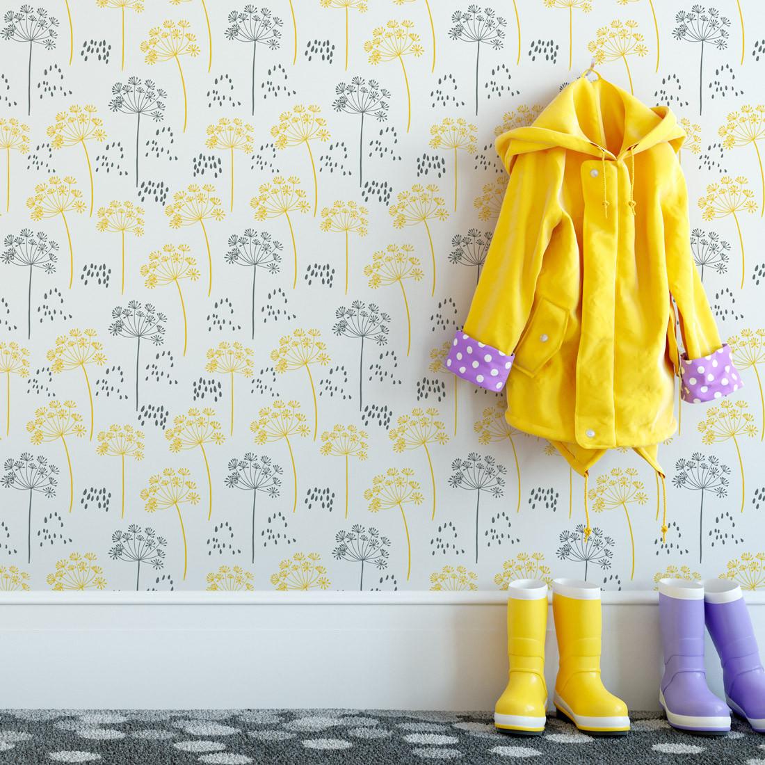 Papel De Parede Infantil Dente de Leão Amarelo e Cinza