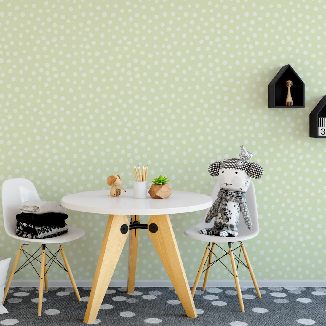 Papel de Parede Infantil Bolinhas Verdes - Nido