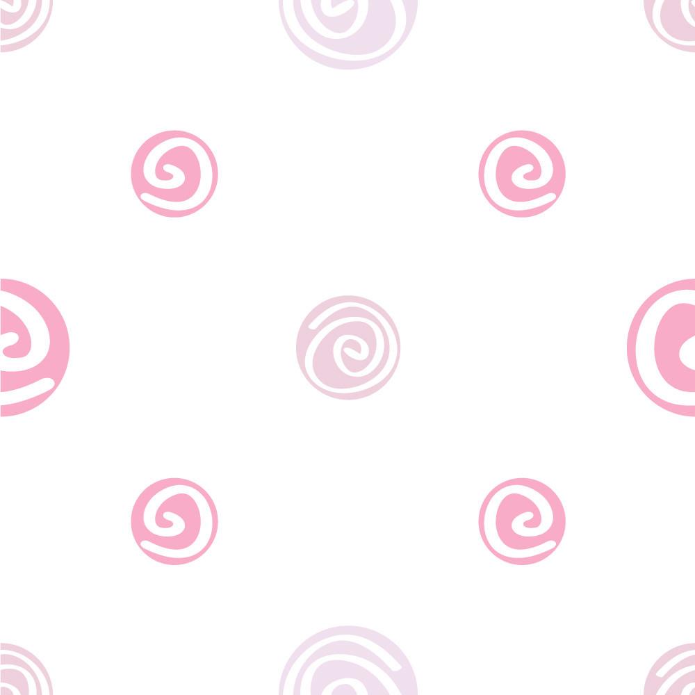 Papel de Parede Infantil Bolinhas Espirais (Rosa)
