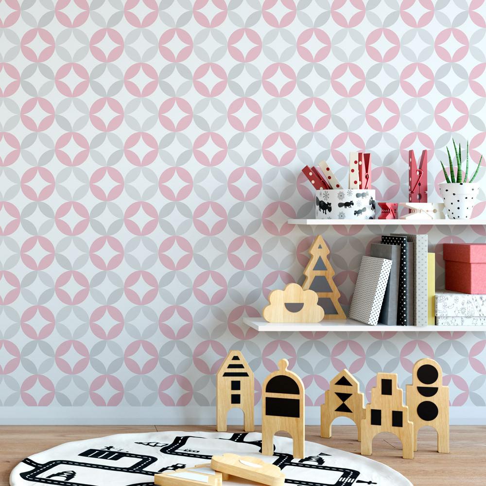 Papel de parede infantil c rculos tons de rosa e cinza for Papel decorado rosa