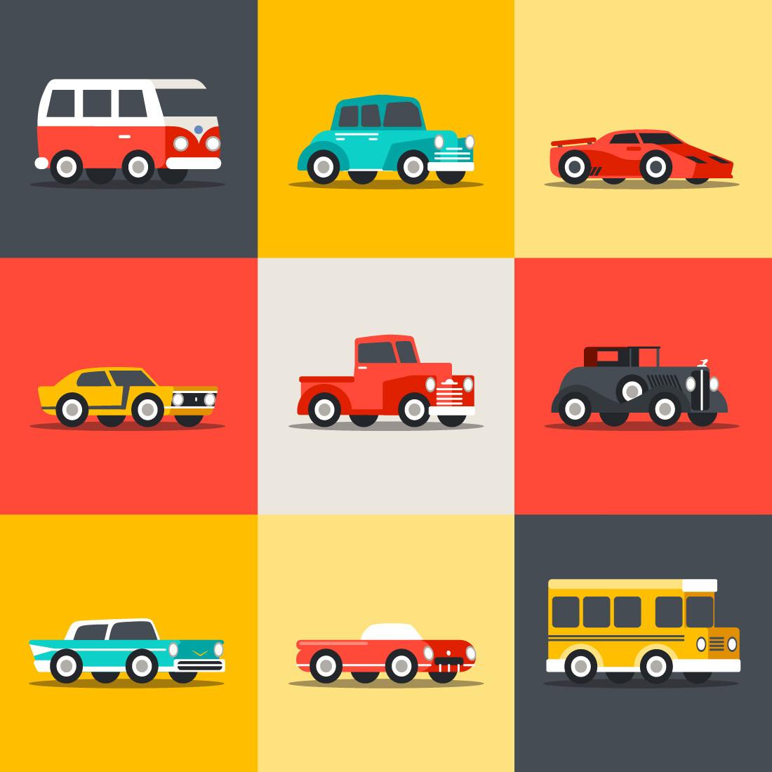 Papel De Parede Infantil Quadriculado Colorido Carros Vintage