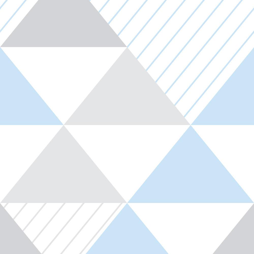Papel de Parede Infantil Triângulos (Tons de Cinza e Azul - Padrão Grande)
