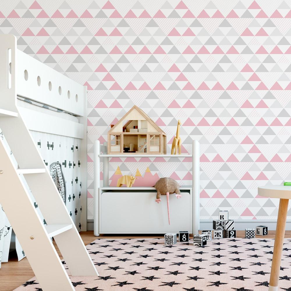 Papel de Parede Infantil Triângulos (Tons de Cinza e Rosa)