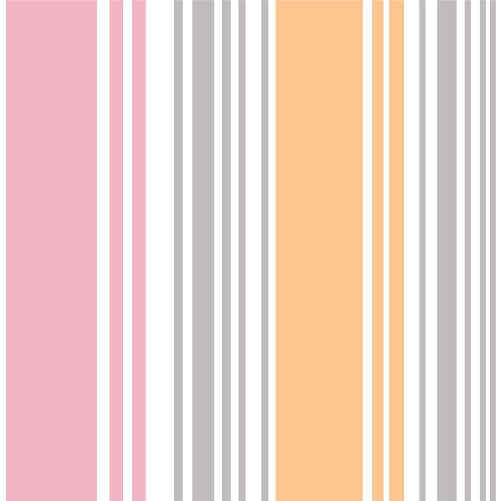 Papel de Parede Listras (Rosa, Cinza e Amarelo)