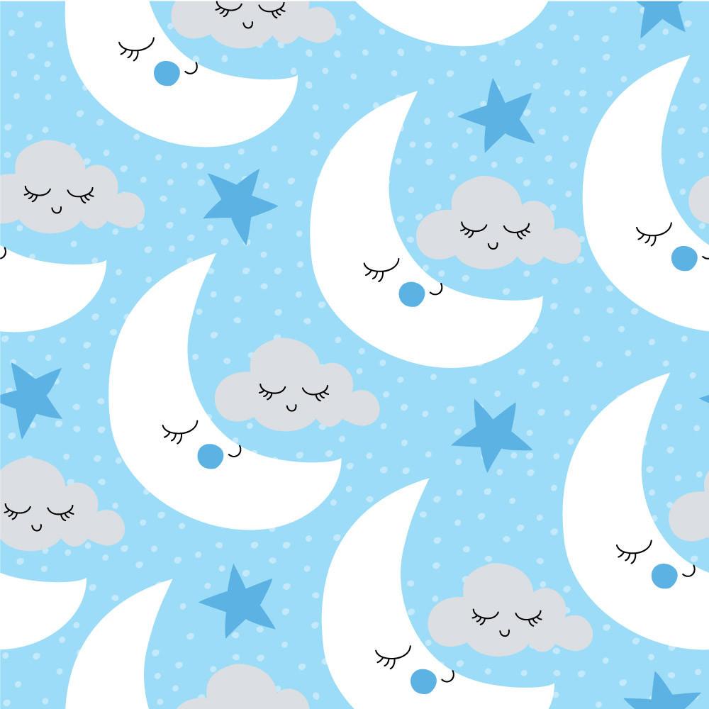Papel de Parede Lua e Nuvens (Fundo Azul Bebê)