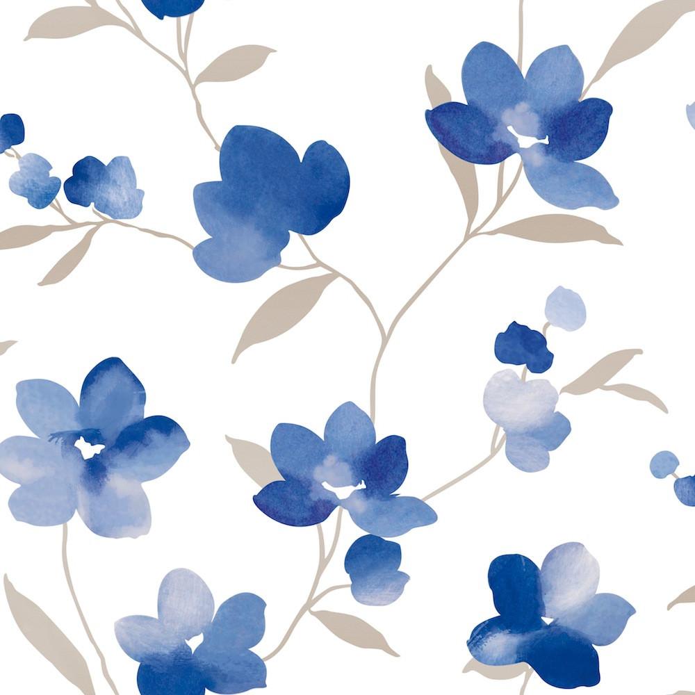 Papel de Parede Floral Aquarela - Flor Azul