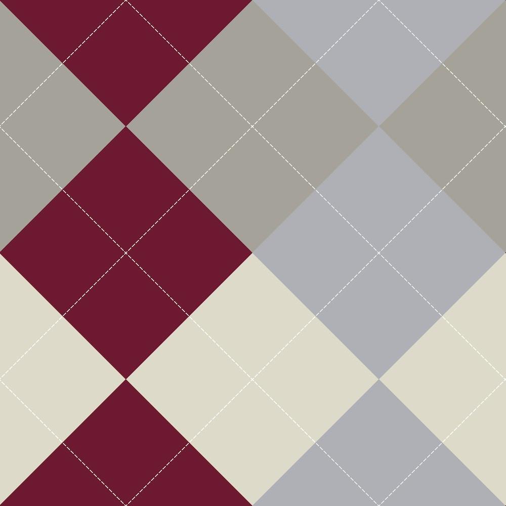 Papel de Parede Abstrato Losangos - Vinho e Cinza