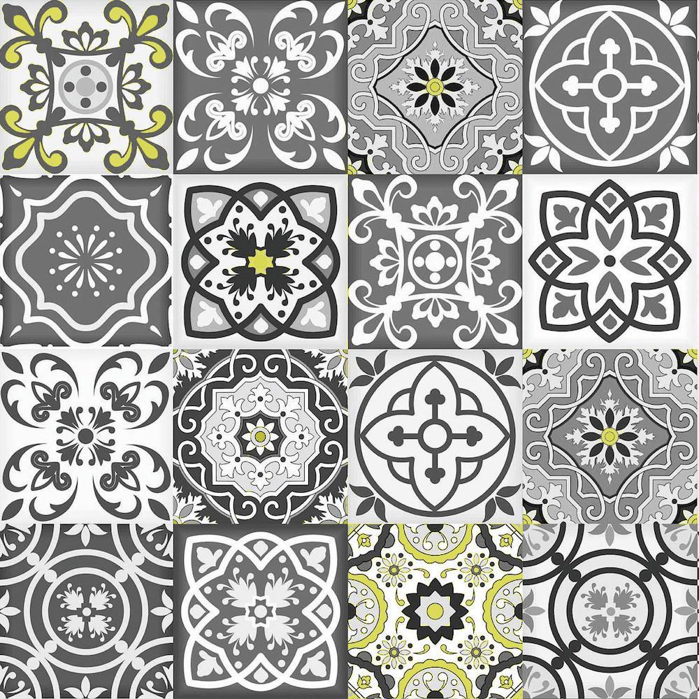 Papel de Parede Azulejo Português - Cinza e Amarelo