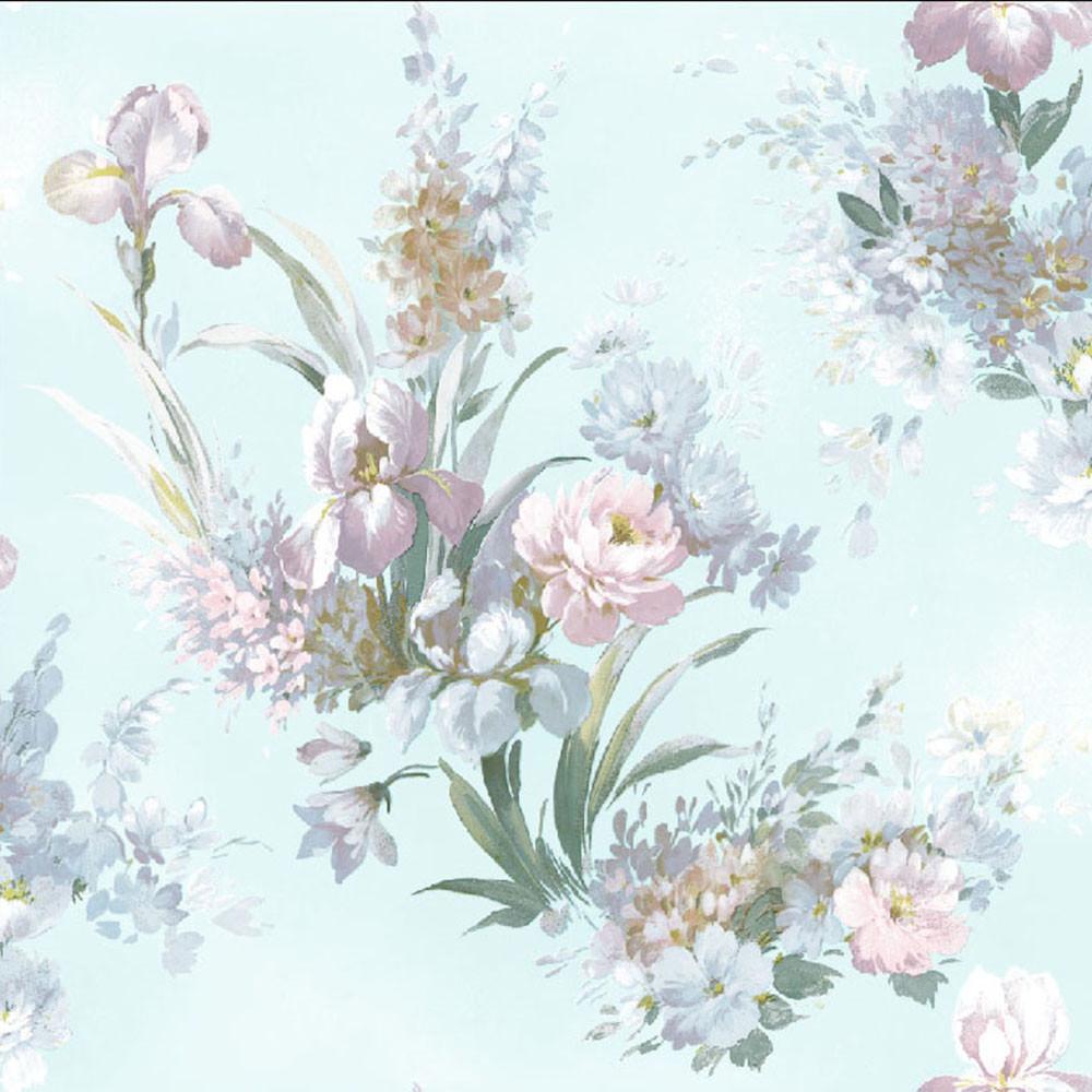 Papel de Parede Floral Azul Coruim