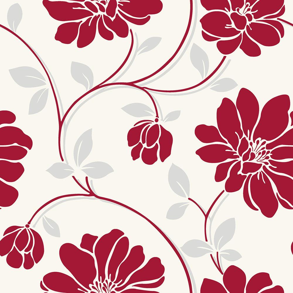 Papel de Parede Floral Vermelho - Coruim