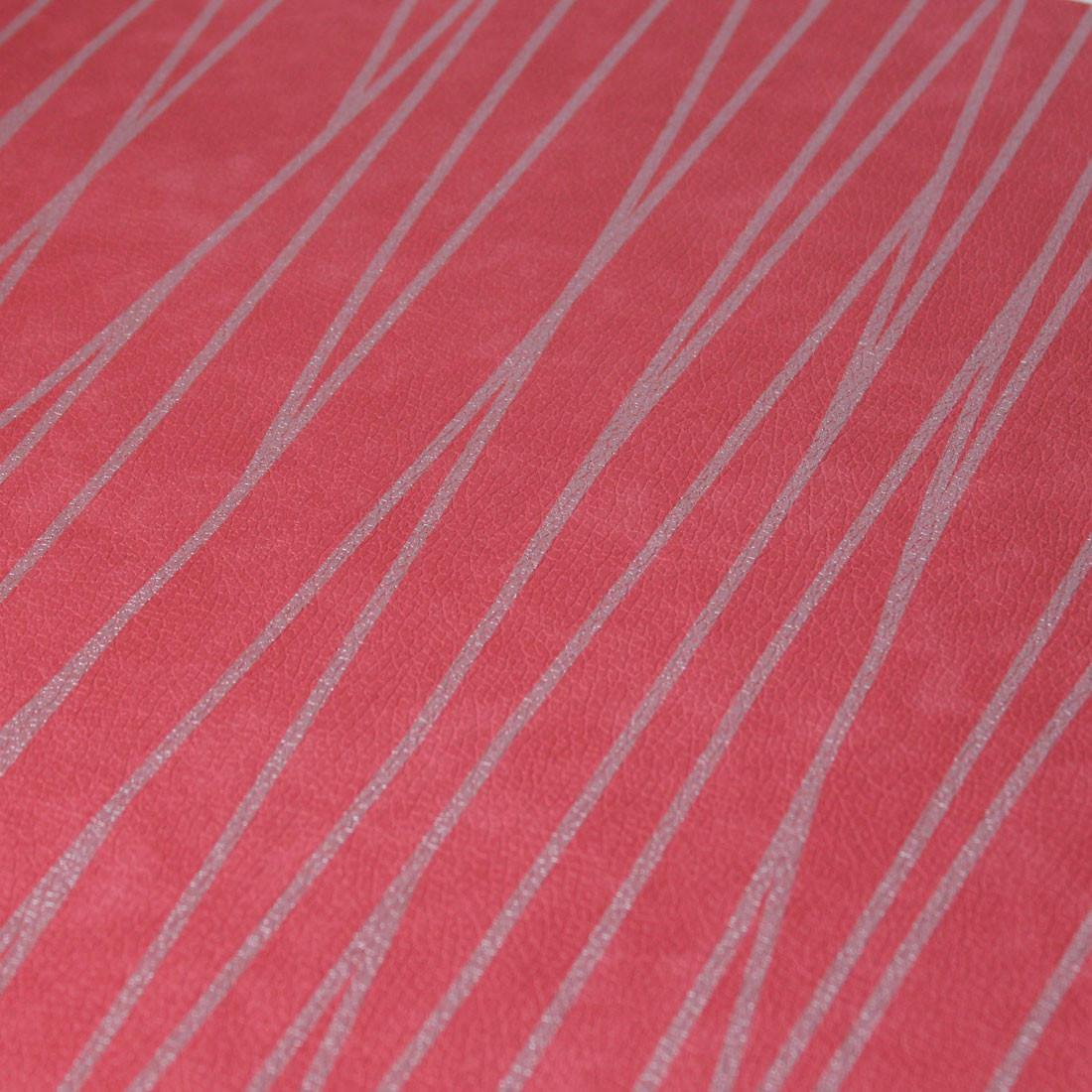 Papel de Parede Muresco Corium Vermelho Linhas Prata