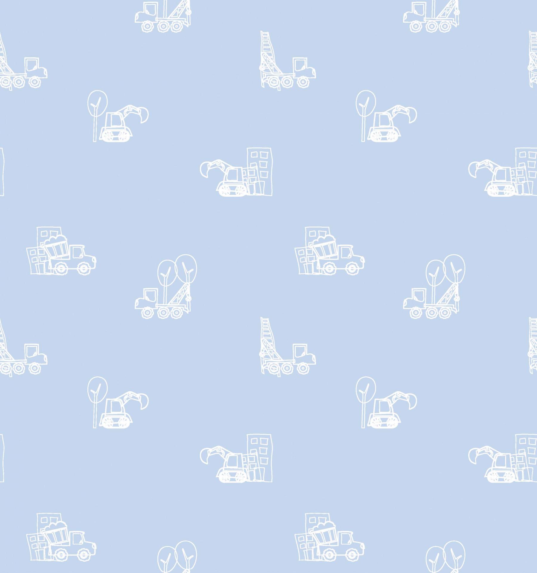 Papel de Parede Carrinhos Fundo Azul - Has#Tag