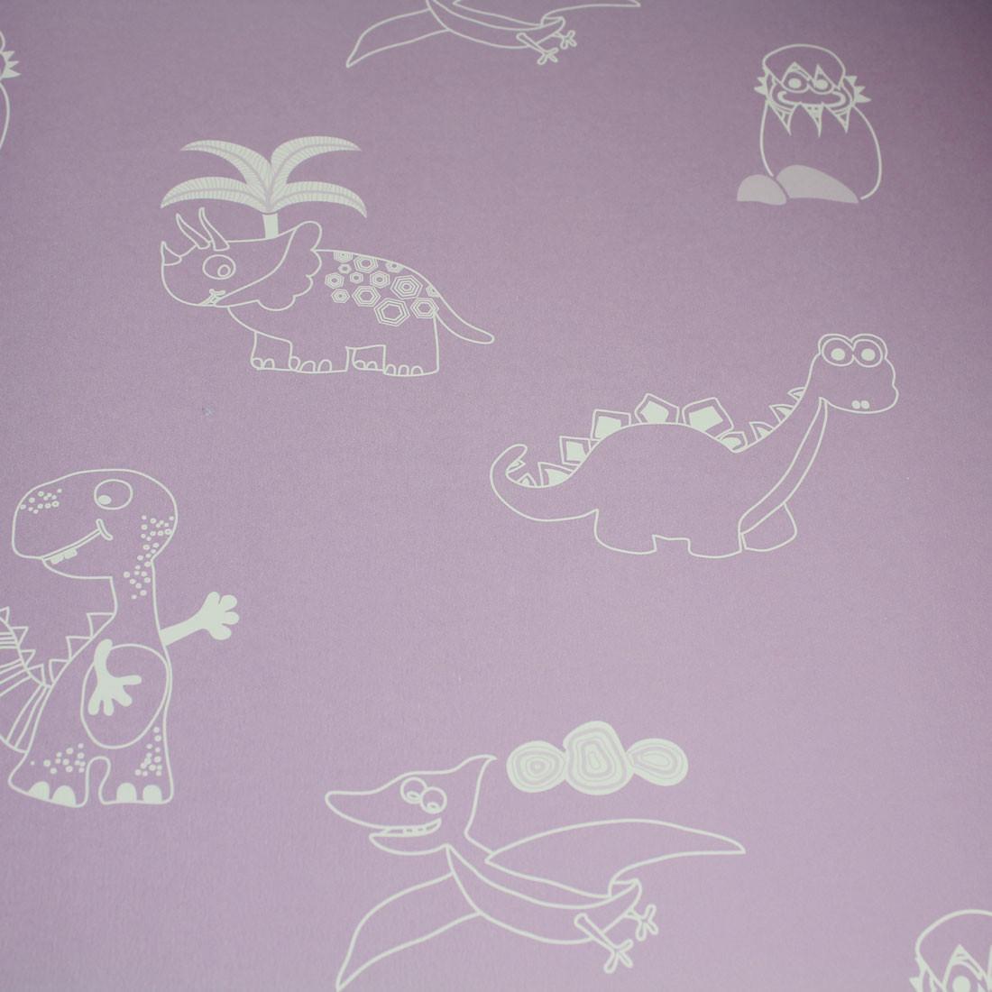 Papel de Parede Dinossauros Lilás - Has#Tag