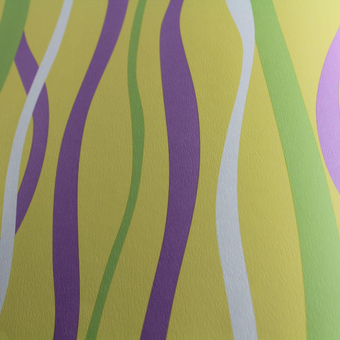 Papel de Parede Infantil Linhas Abstratas Fundo Amarelo - Has#Tag