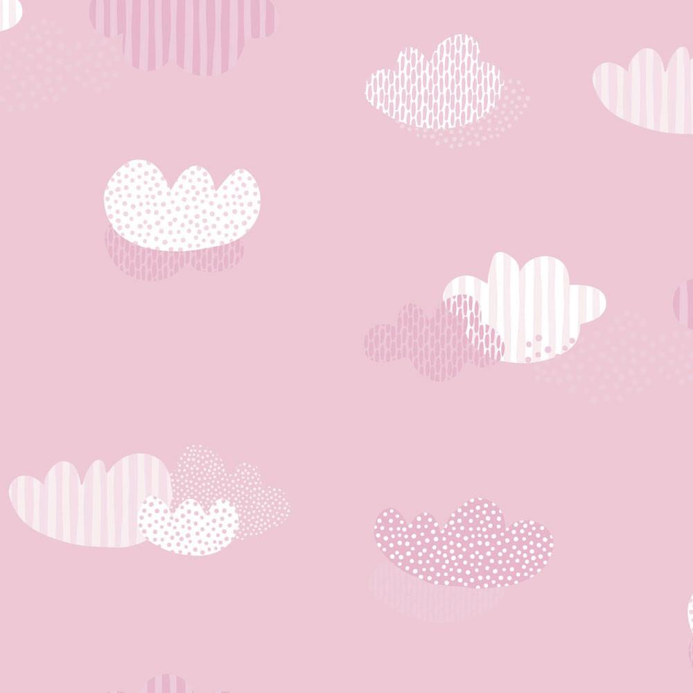 Papel de Parede Infantil Nuvens Fundo Rosa Bebê - Nido