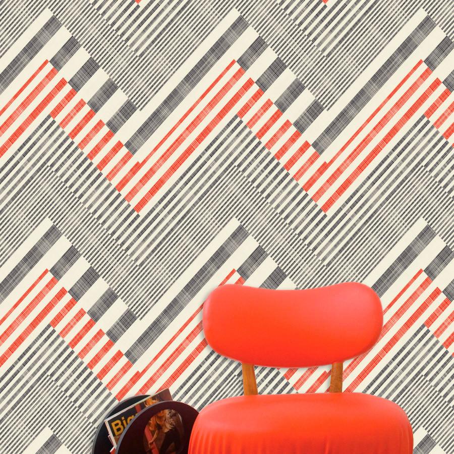 Papel de Parede Abstrato Geométrico Vermelho e Preto