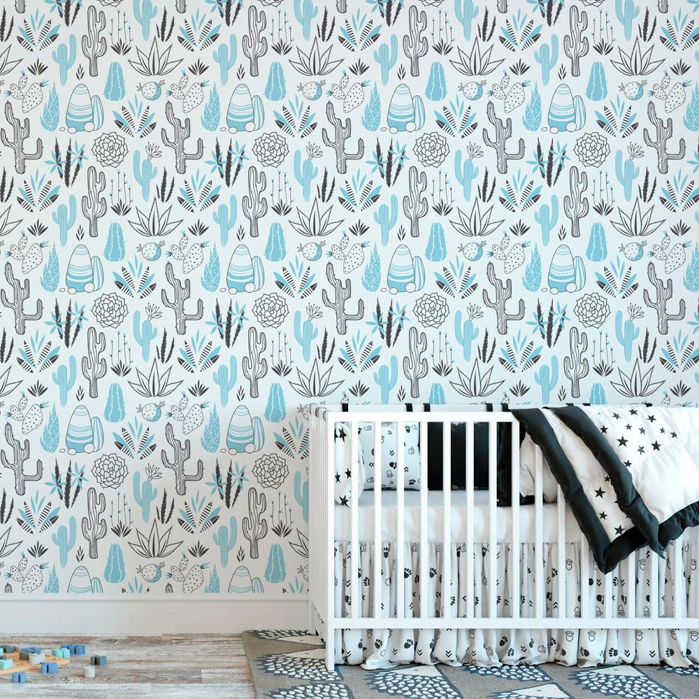 Papel de Parede Infantil Cactos (Azul Bebê)