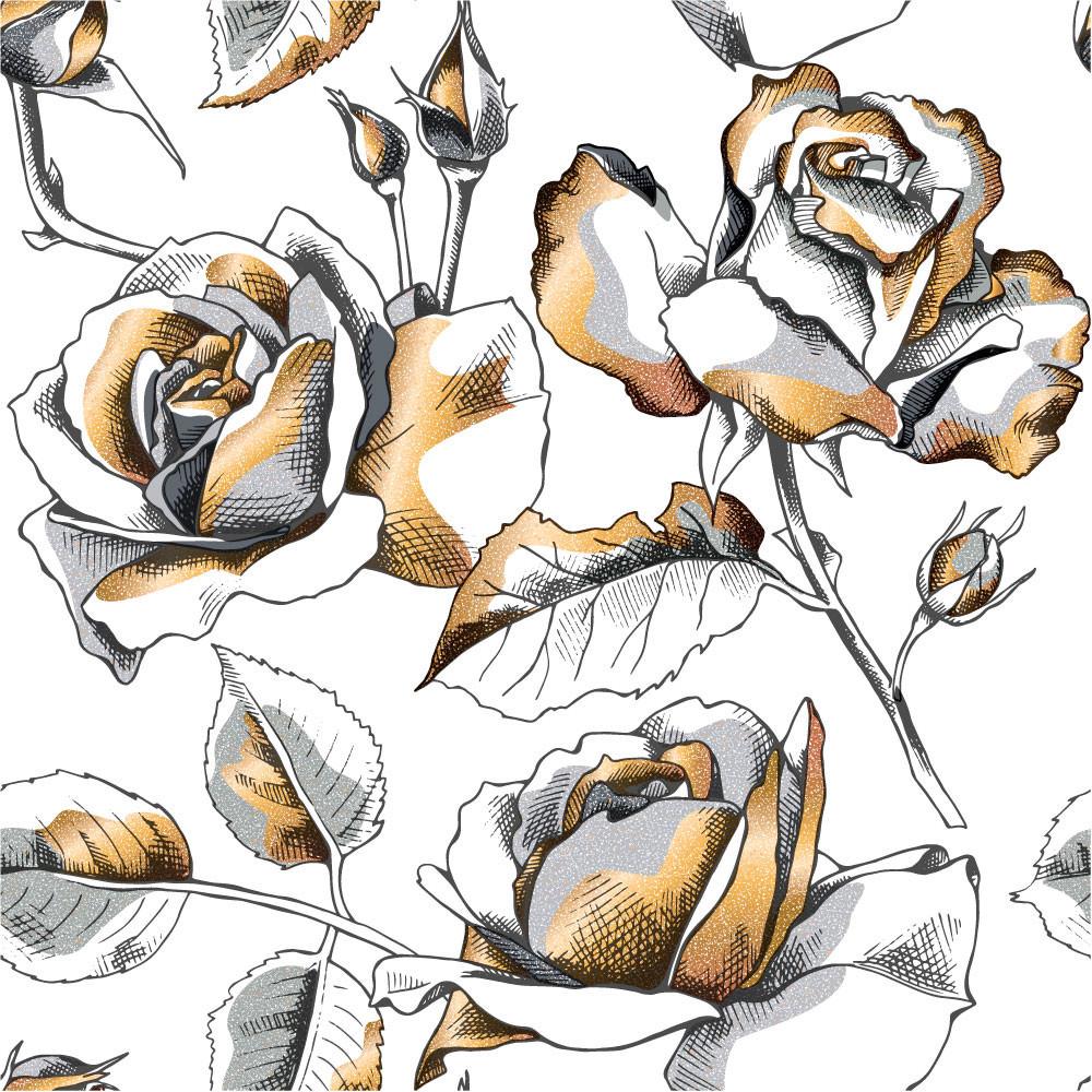 Papel de Parede Rosas Douradas