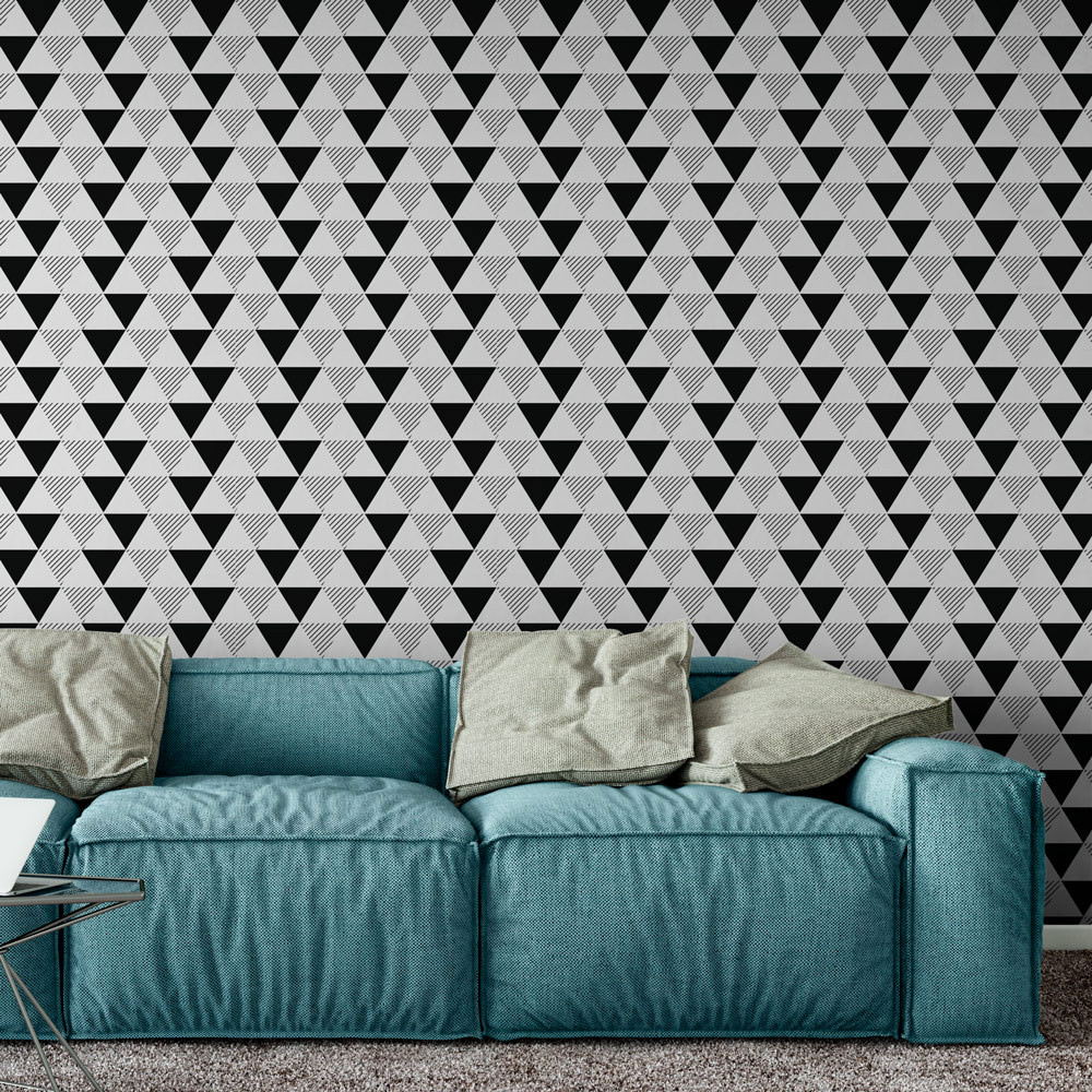 Papel de Parede Triângulos Abstratos Preto e Branco